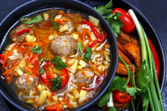 Soup with meatballs in a black plate, sliced vegetables - onion, parsley, pepper, tomato Royalty Free Stock Photo
