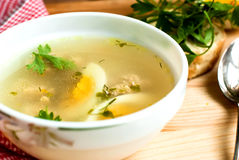 Soup with meatballs and egg Royalty Free Stock Images