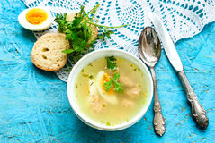 Soup with meatballs and egg Royalty Free Stock Image