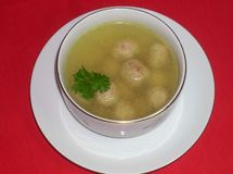 Soup with meatballs. European first dish Royalty Free Stock Image