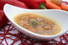 Soup with meatballs. A fresh soup with meatballs stock image