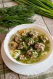 Soup with meatballs and fresh dill Royalty Free Stock Images