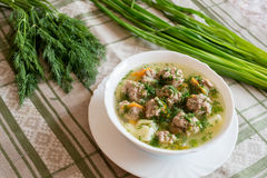Soup with meatballs and fresh dill Stock Photography