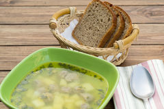 Soup with meatballs Stock Image