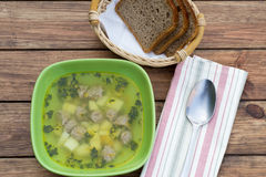 Soup with meatballs Royalty Free Stock Photo