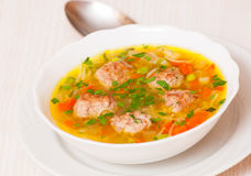 Soup with meatballs, noodle and vegetables Stock Image