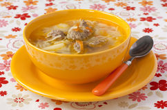 Soup with meatballs and noodles Royalty Free Stock Images