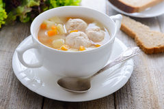 Soup with meatballs and potato royalty free stock photos