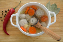 Soup with meatballs Stock Images