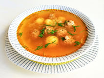 Soup with meatballs and potatoes Stock Photo