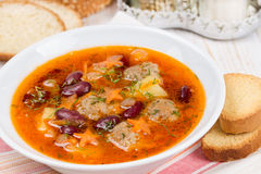 Soup with meatballs and red beans Royalty Free Stock Photos