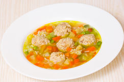 Soup with meatballs, rice and vegetables Stock Photography