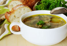Soup with meatballs for dinner. Soup with meatballs served with bread and parsley Royalty Free Stock Photos