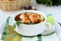 Soup with meatballs and vegetables Stock Photography