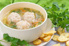 Soup with meatballs. And vegetables royalty free stock image