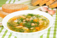 Soup with meatballs and vegetables Royalty Free Stock Images