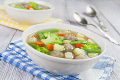 Soup with meatballs and vegetables Royalty Free Stock Photography