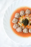 Soup with meatballs and vegetables Royalty Free Stock Image