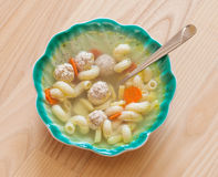 Soup with meatballs and vermicelli  in original Royalty Free Stock Photos