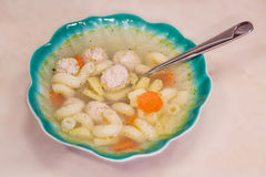 Soup with meatballs and vermicelli Stock Image