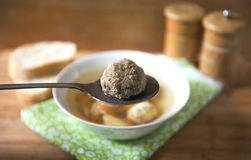 Soup. With meatballs in a white plate Royalty Free Stock Photos