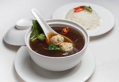 Soup med meatballs Fotografering för Bildbyråer
