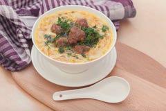 Soup med meatballs och nudlar Royaltyfria Foton
