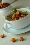 Soup med rostat bröd Arkivbild
