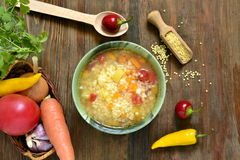 Soup with millet and vegetables. Vegetarian Royalty Free Stock Photo