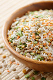 Soup mix. Wooden bowl full of soup mix (rice, barley,split dried peas,lentils Royalty Free Stock Image
