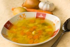 Soup with mixed vegetable , carrot , potato , pars Royalty Free Stock Image