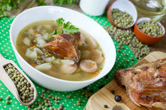 Soup with mung beans royalty free stock photo