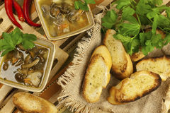 Soup with mushroom and bread Royalty Free Stock Photography