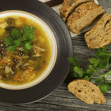 Soup with mushroom and bread Royalty Free Stock Images