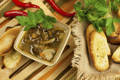 Soup with mushroom and bread Stock Photography