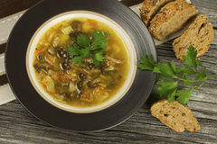 Soup with mushroom and bread Royalty Free Stock Photo