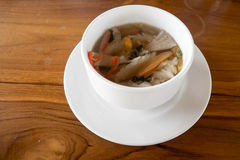 Soup. Mushroom soup served in a white bowl Royalty Free Stock Photography