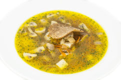 Soup with mushrooms and beans Royalty Free Stock Photo