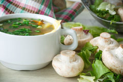 Soup with mushrooms and cheese Royalty Free Stock Photos