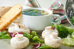 Soup with mushrooms and cheese Royalty Free Stock Images