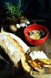 Soup with mushrooms. Mushrooms soup with rosemary and bread Stock Photo