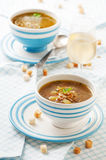 Soup with mushrooms. Vegetarian soup with mushrooms, potato and carrot, selective focus Royalty Free Stock Image