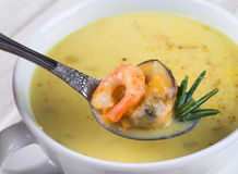 Soup of mussels and shrimp Stock Image