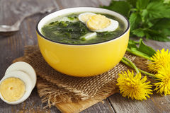 Soup of nettles with eggs Royalty Free Stock Image