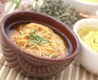 Soup with noodles Royalty Free Stock Images
