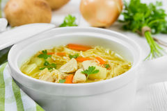 Soup with noodles and chicken Stock Images