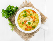 Soup with noodles and chicken royalty free stock image