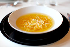 Soup with noodles made of beef and vegetables Stock Image