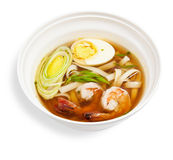 Soup noodles with prawns Stock Image