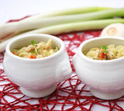 Soup with noodles. Some fresh chicken soup with noodles Royalty Free Stock Images
